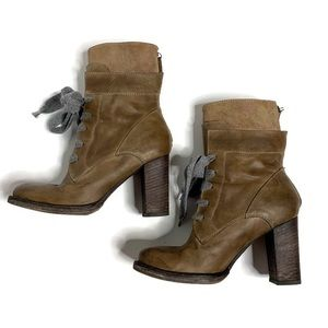 Brunello Cucinelli Brown Leather Lace Heeled Boots